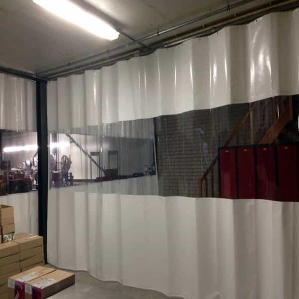 Industrievorhang Kombo Weiß & Transparent