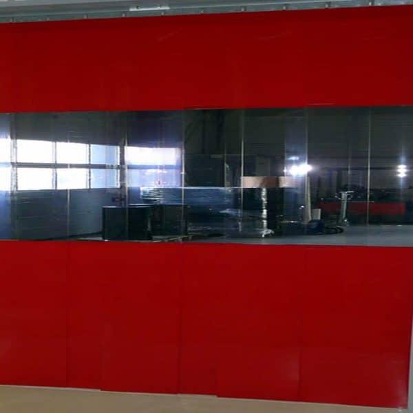 Streifenvorhang Rot Combo nach Maß